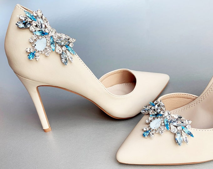 Something blue Shoe clips, Bridal shoe clips, Swarovski crystal shoe clips, Shoe embellishments jewelry, Rhinestone shoe clip-on light blue