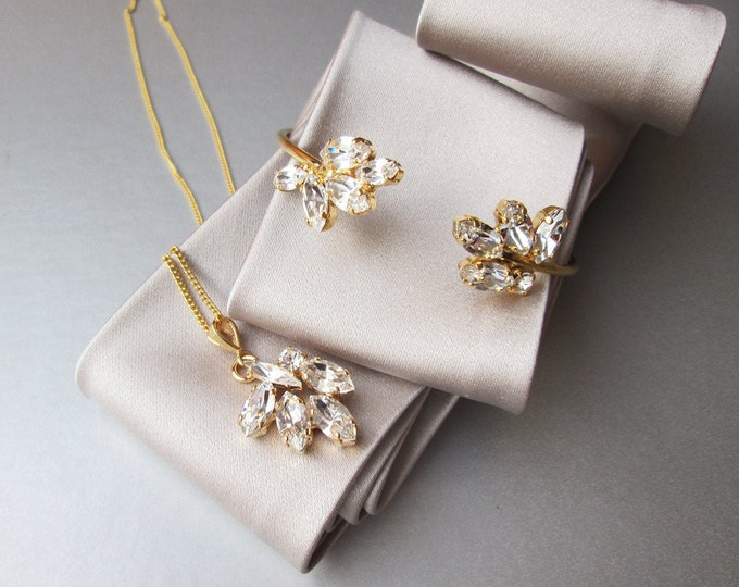 Swarovski jewelry set, Swarovski crystal bracelet and necklace set, Bridal bracelet and necklace pendant set gold, rose gold, silver