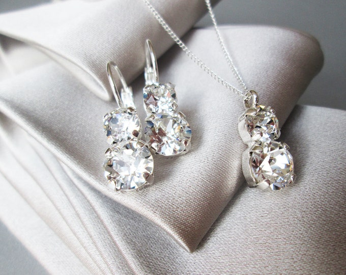 Swarovski crystal jewelry set, Bridal crystal earrings necklace set, Swarovski rhinestone Bridesmaids jewelry set in gold, silver, rose gold