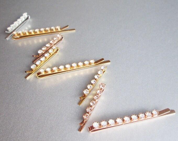 Mix and match Swarovski crystal bobby pins, Bridal crystal pins, Wedding pins, Dainty Swarovski crystal bobbies, Sparkly bridal clips opal
