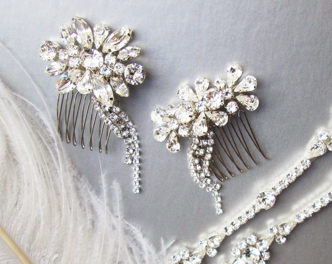 Shooting Stars -  Sparkly crystal hair combs, Bridal crystal hair combs, Swarovski combs, Combs with dangles in gold or silver, One pair