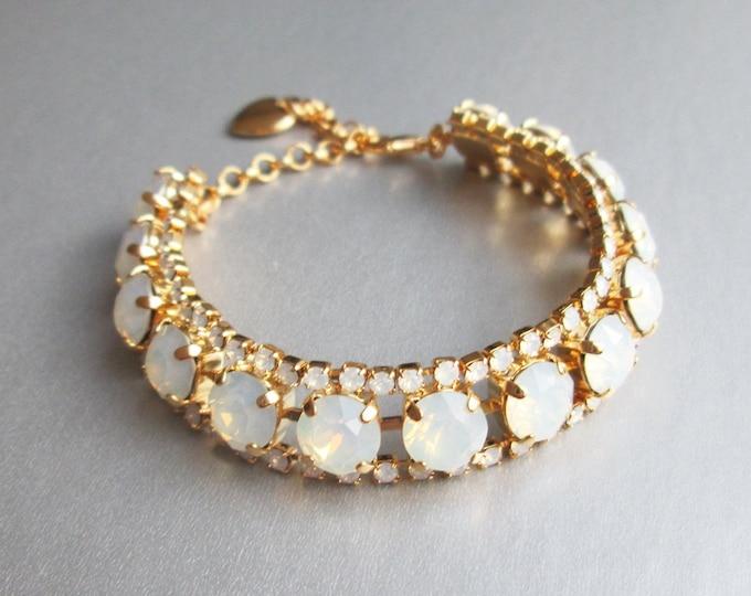 Swarovski crystal opal bridal bracelet, Swarovski opal bracelet, Wedding crystal rhinestone bracelet in gold, silver, rose gold, White opal