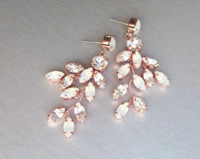 Rose gold Opal Bridal crystal earrings, Wedding Swarovski opal earrings, Leaf branch drop earrings, Chandelier earrings dangling