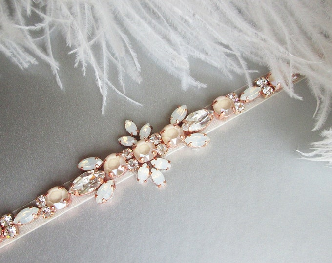 Rose gold Pastel Champagne and white opal Bridal belt sash, Crystal belt ivory cream, Wedding belt, Swarovski bridal belt, Rhinestone sash