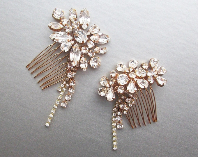 Shooting stars Gold crystal hair combs, Bridal crystal hair combs, Swarovski combs, Sparkly combs with chains in gold or silver, One pair