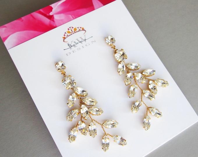 Gold Bridal crystal earrings, Sparkly crystal earrings Bridal leaf earrings, Swarovski dangling earrings, Wedding linear earrings with posts