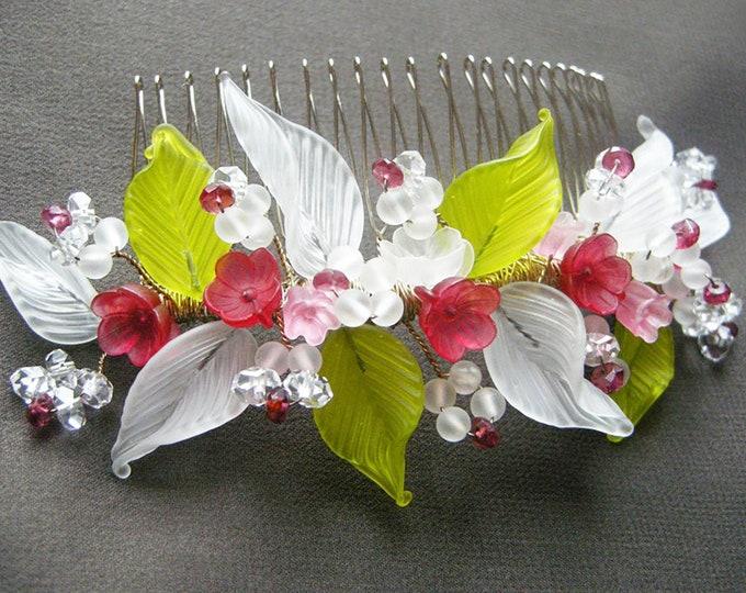 Cinderella bridal hair comb, Bridal hair comb tiara with handmade glass, Wedding hair comb, Bridal headdress, Red and green bridal comb