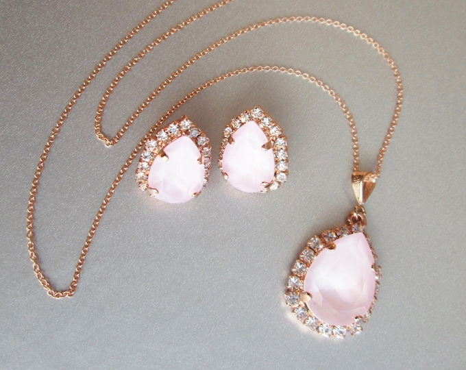 Powder Rose Swarovski crystal jewelry set, Bridal crystal earrings necklace set, Swarovski pink Bridesmaids jewelry in gold silver rose gold