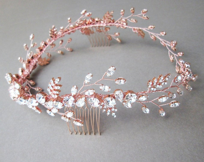 Rose gold Swarovski crystal circlet headband in gold, silver, Bridal crystal halo headband, Wedding rhinestone headband circlet hair vine