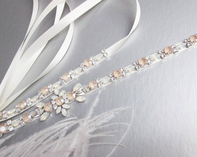 Ivory cream Swarovski belt, Pastel Champagne opal Bridal belt sash, Wedding belt, Swarovski Opal bridal belt, Rhinestone Swarovski sash