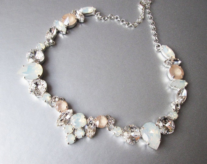 Pastel Ivory cream and opal bridal crystal necklace and earrings, Swarovski jewelry set, Opal Champagne wedding jewelry, Statement jewelry