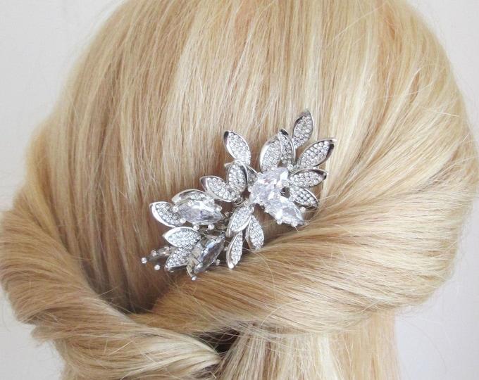 Swarovski crystal hair comb, Bridal crystal hair comb, Rhinestone hair comb, Wedding hair comb, Leaf bridal comb