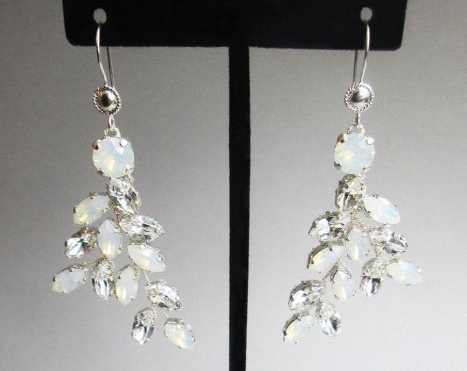 Opal Bridal crystal earrings, Swarovski opal earrings, Leaf branch earrings, Wedding crystal gold earrings,Rhinestone bridal silver earrings
