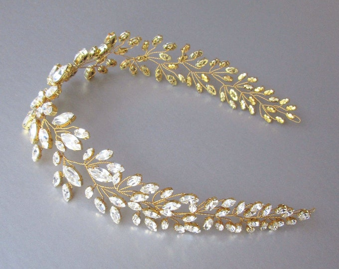 Swarovski crystal hair vine in gold, silver or rose gold, Crystal Headband, Wedding hair vine, Bridal headband, Bridal crystal hair vine