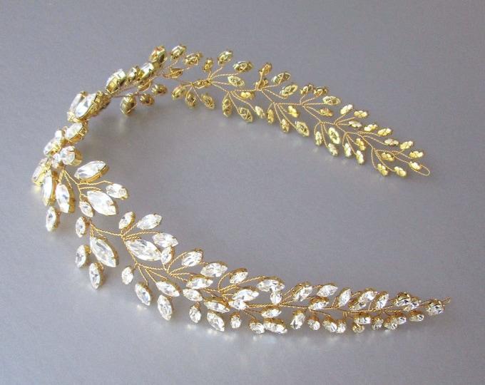 Swarovski crystal hair vine in gold, silver or rose gold, Crystal Headband, Wedding hair vine, Bridal headband, Bridal crystal hair vine