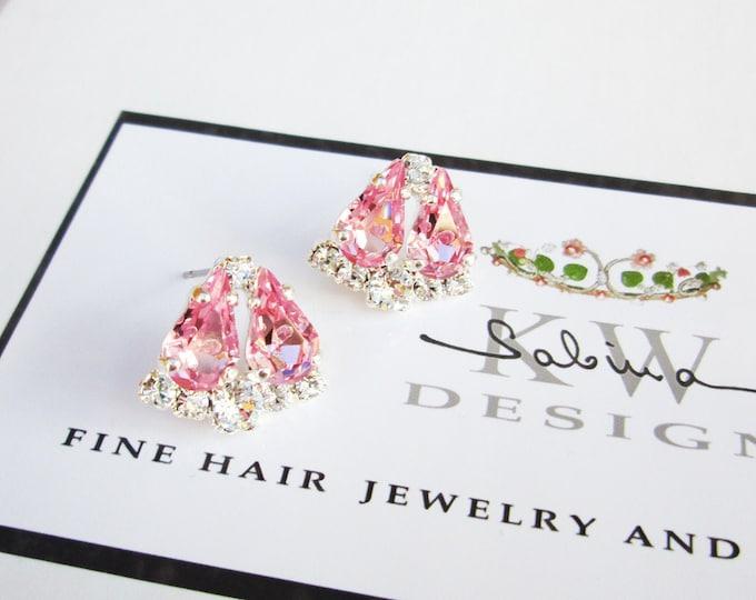 Light Pink Dainty Bridal crystal studs, Swarovski earrings, Wedding earrings, Stud rhinestone earrings in gold, silver, rose gold, Wedding