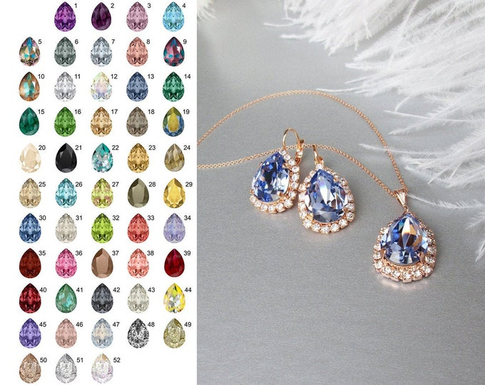 Lavender Swarovski crystal jewelry set, Bridal crystal earrings necklace set, Swarovski Bridesmaids jewelry, more colors