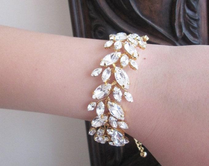 Swarovski crystal bridal bracelet, Swarovski leaf vine bracelet, Wedding crystal rhinestone bracelet in gold, rose gold or silver