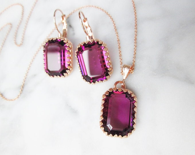 Amethyst Swarovski crystal jewelry set, Purple plum jewelry earrings necklace set, Bridal Bridesmaids jewelry gold, silver, rose gold