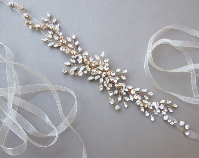Swarovski crystal headband hair vine in gold or silver, Bridal crystal headband hair vine with organza, Wedding rhinestone belt or headband