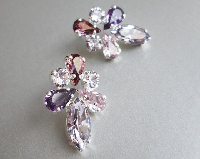 Lavender lilac Bridal crystal earrings, Swarovski crystal bridal stud earrings, Swarovski rhinestone studs in lavender, purple