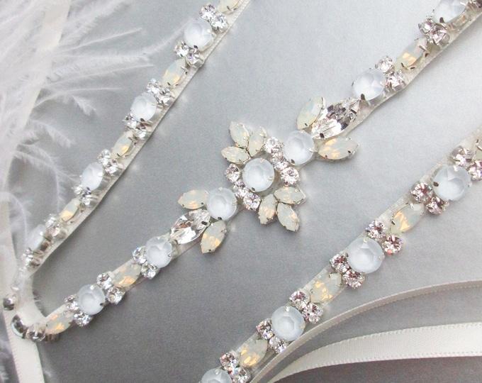 Pastel Blue opal Bridal belt sash, Crystal belt pale blue, Wedding Swarovski Opal bridal belt, Rhinestone Swarovski sash baby blue