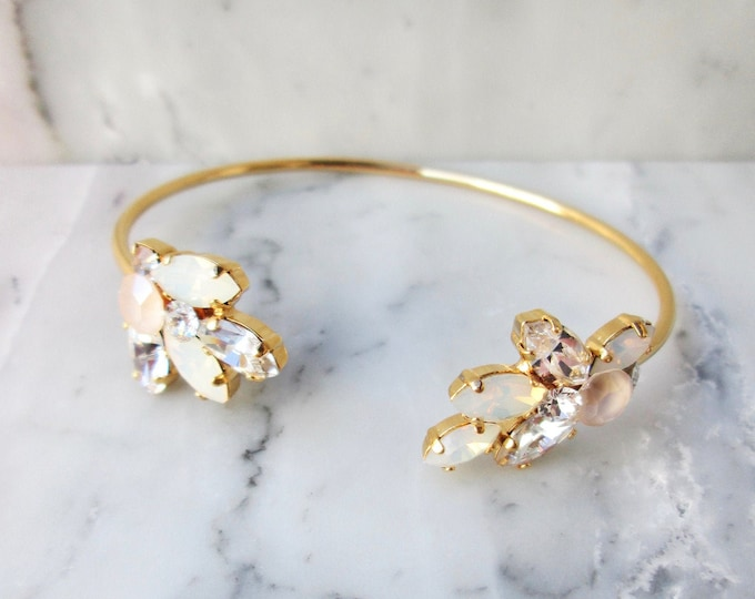 Pastel ivory cream and opal Swarovski crystal bridal bracelet, Wedding bracelet, Dainty bridal bracelet, Gold, rose gold, silver