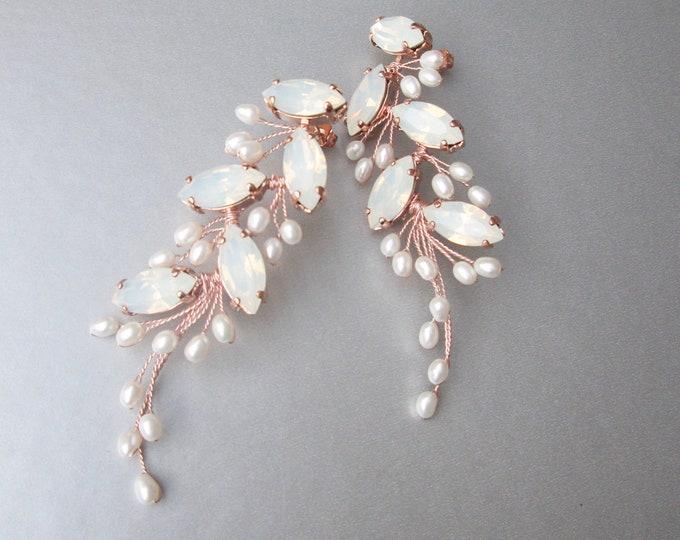 White Opal and pearl bridal crystal earrings set, Swarovski crystal opal earrings, Wedding gold earrings, Rose gold, silver bracelet set