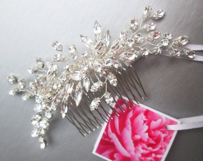 Swarovski crystal hair comb, Bridal crystal comb, Rhinestone bridal comb, Opal Wedding hair comb, Bridal comb in gold or silver
