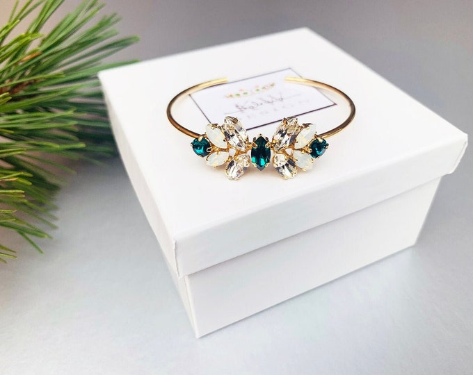 Emeralds and Opals Swarovski crystal bridal bracelet, Wedding bracelet, Dainty bridal bracelet, Gold, rose gold, silver