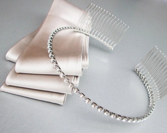Skinny Bridal headband, Thin Swarovski crystal headband, Wedding headband, Rhinestone headband with combs, Dainty headpiece in gold, silver
