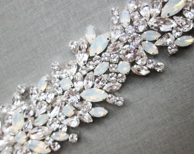 Opal bridal Swarovski belt, Crystal belt sash in gold, silver, Wedding belt, Waist sash, Opal bridal belt, Rhinestone crystal belt