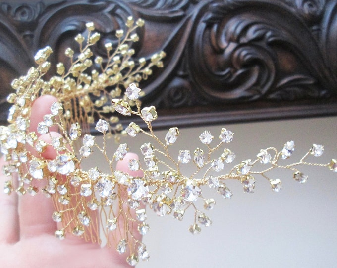 Swarovski crystal hair vine comb, Crystal Headband, Bridal hair vine, Wedding headpiece, Gold Bridal crystal hair vine, Rhinestone hair comb