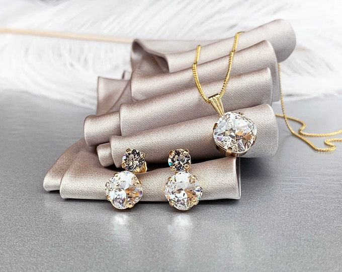 Swarovski crystal jewelry set, Bridal crystal earrings necklace set, Swarovski rhinestone Bridesmaids jewelry set in gold, silver, rose gold