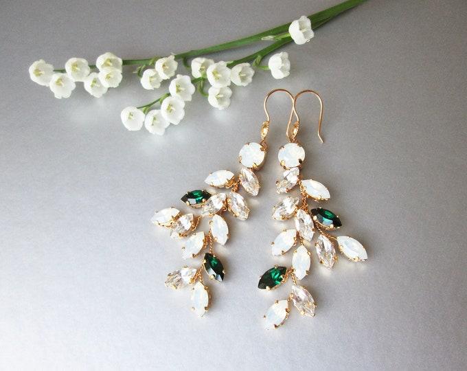 Emeralds and Opals Bridal crystal earrings, Swarovski opal earrings, Leaf branch earrings, Wedding crystal gold earrings, green emeralds