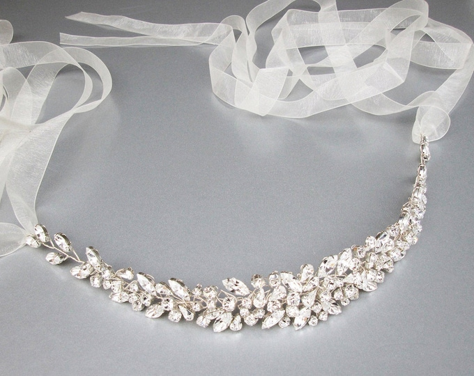 Swarovski floating crystal belt, Bridal belt sash, Crystal sash, Wedding Sash, Swarovski belt sash, Rhinestone organza belt