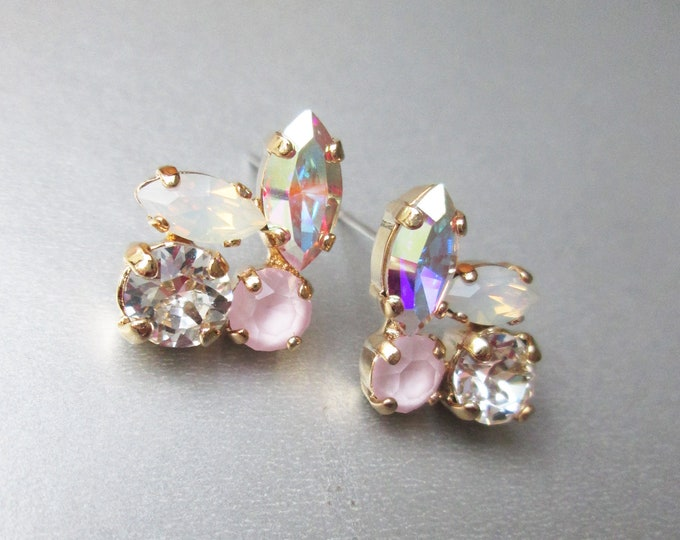 Iridescent crystal studs, Dainty crystal studs, Swarovski crystal AB bridal earrings, Stud rhinestone earrings in gold, silver, rose gold