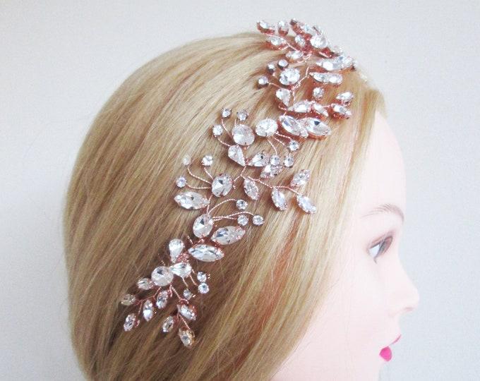 Rose gold Swarovski bridal hair vine, Rose gold bridal comb, Wedding headband, Rhinestone bridal headpiece, Wedding hair vine gold, silver