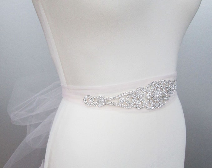 Bridal belt sash, Pale pink tulle and crystal bridal sash, Wedding belt sash, Tulle waist sash, Rhinestone beaded crystal belt, More colors