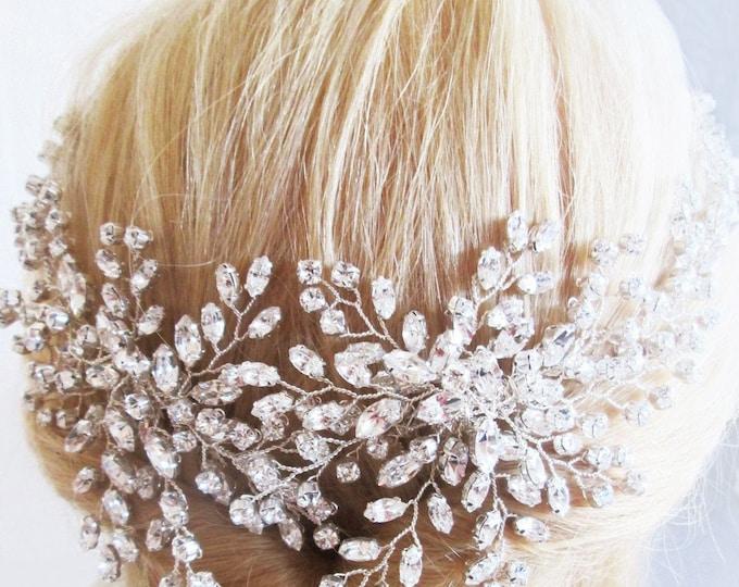 Swarovski crystal hair vine, Crystal Headband, Bridal hair vine, Statement bridal headpiece, Wedding hair comb, Bridal crystal hair vine