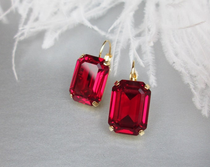 Siam red Swarovski crystal emerald cut earrings, Red Swarovski drop earrings, Bridesmaids drop earrings in gold, silver, rose gold