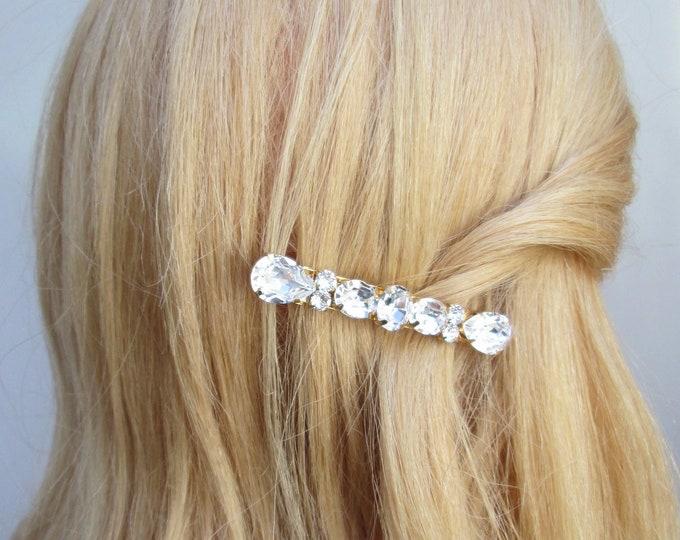 French barrette with Swarovski crystals, Swarovski crystal hair clip, Bridal party crystal clip, Rhinestone Wedding hair clips