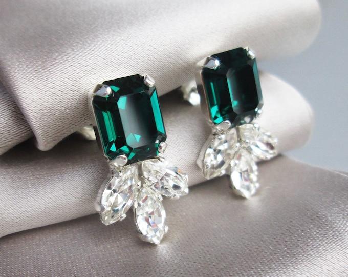Emerald Swarovski crystal studs, Green emerald earrings, Dainty stud earrings in gold, silver, rose gold, Wedding party bridesmaids