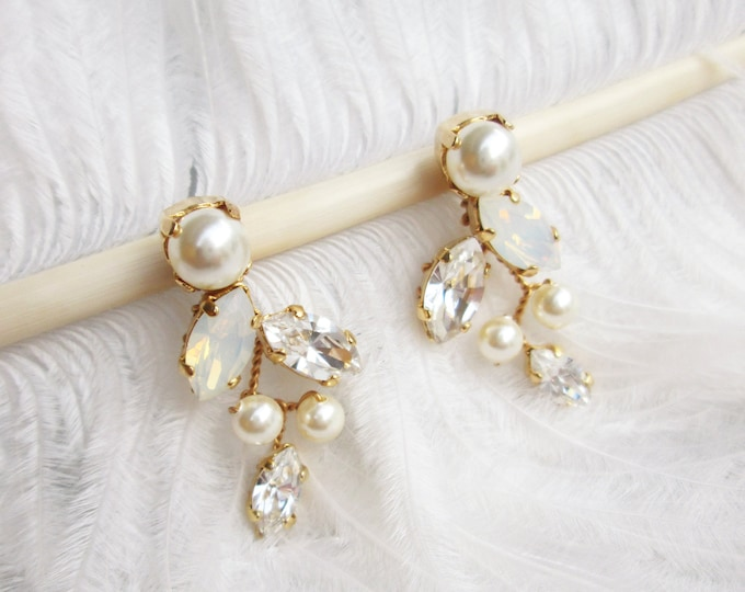 Opal crystal and pearl stud earrings, Swarovski opal bridal earrings, Leaf vine earrings, Bridesmaids earrings in gold, rose gold  or silver