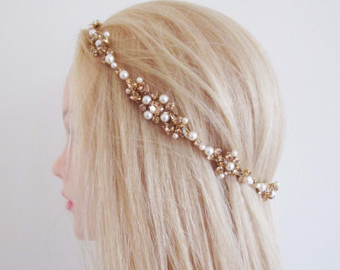 READY TO SHIP - Topaz Champagne Bridal halo headpiece, Swarovski Wedding halo in Gold, Bridal headband halo with crystal and pearl