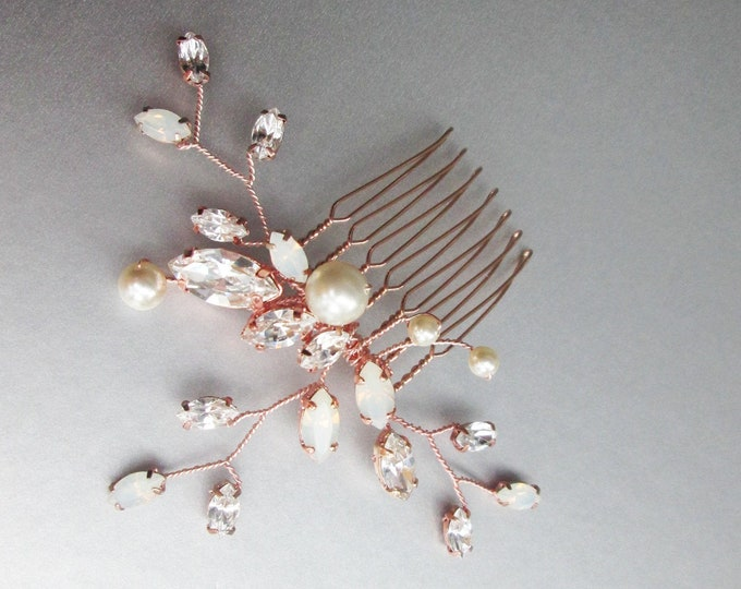 Rose Gold Opal crystal and pearl Swarovski hair comb, Bridal crystal comb, Opal pearl comb, Delicate Wedding comb, Bridal comb gold, silver