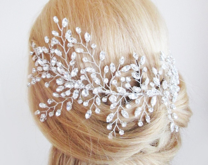 Swarovski crystal hair vine, Crystal Headband, Bridal hair vine, Silver bridal headband, Wedding headpiece, Bridal crystal hair vine