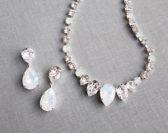 Bridal Swarovski crystal white opal necklace set, Bridal jewelry set, Wedding necklace earrings gold, rose gold or silver, Mother of bride