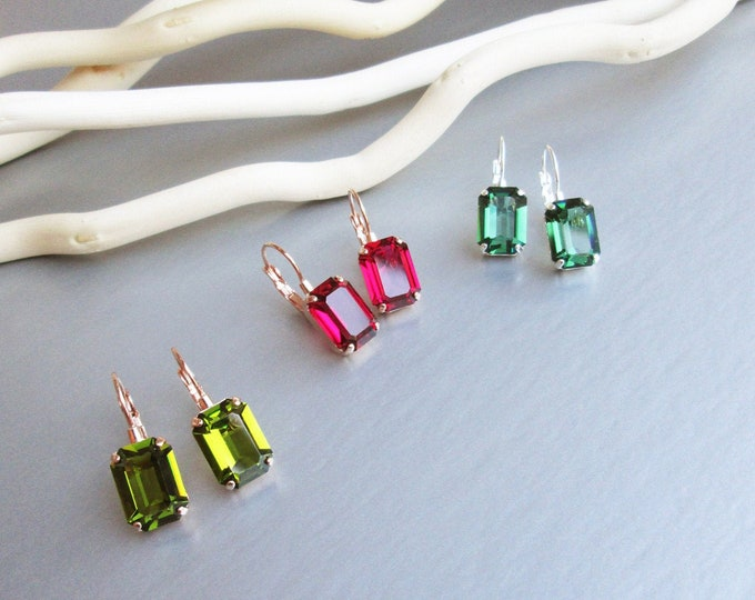 Little Transparent Drops, Swarovski crystal bridal earrings Emerald cut drop earrings, Delicate earrings gold silver rose gold, Bridesmaids