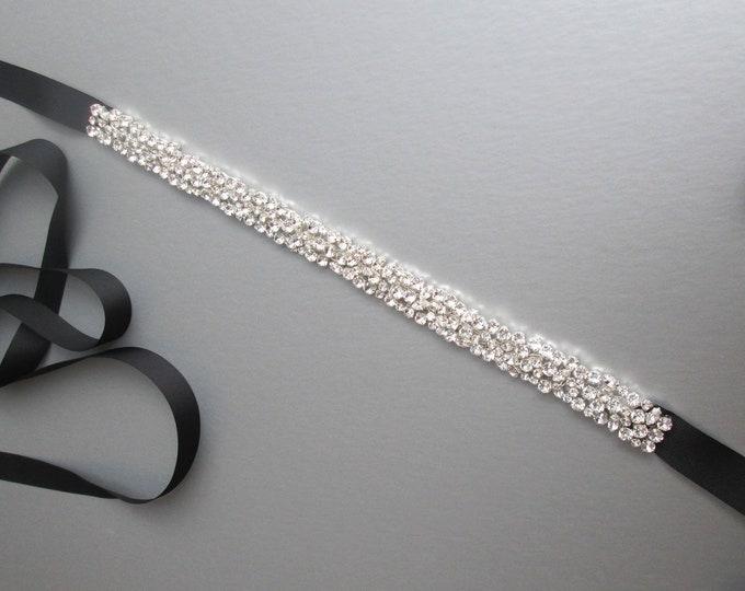 Swarovski bridal belt sash, Swarovski crystal wedding belt waist sash, Rhinestone belt, Black Crystal belt in gold, silver, rose gold